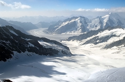 View over the Aletschgletscher from Mönch summit, Switzerland