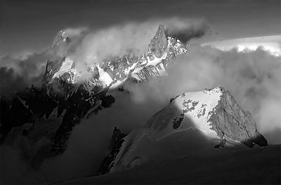 Dent du Geant and Grandes Jorasses, Mont Blanc, France