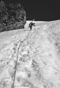 Approaching Garstelet  glacier, Monte Rosa, Alps, Italy