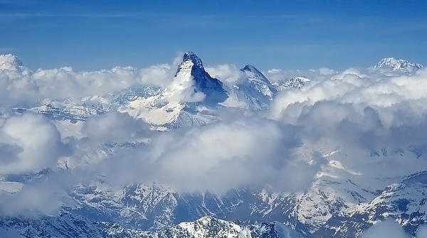 The Matterhorn from the summit of Alphubel, Switzerland