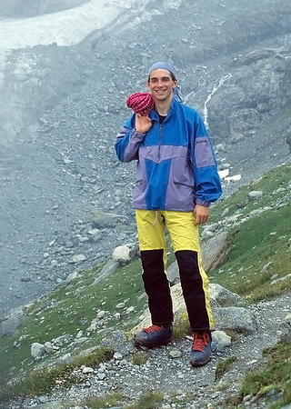 1996,  self portrait before climbing Roccia Nera, Italy