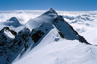 View over Eastern summit from Western Lyskamm summit (4.481m), Italy