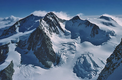 The Monte Rosa range from Western Lyskamm summit (4.481m), Italy and Switzerland