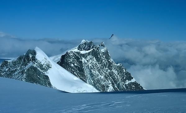 View over Breithorn range from Western Lyskamm summit (4.481m), Italy and Switzerland