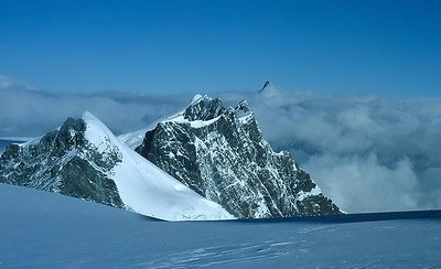 View over Breithorn range from Western Lyskamm summit (4.481m), Italy and Switzerland