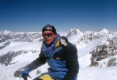 1997, self portrait on the summit of Castor (4.228m), Italy