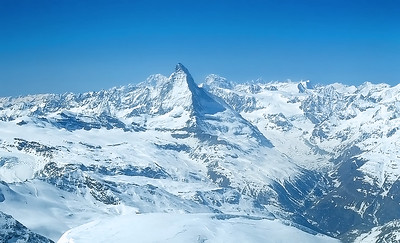 View over Matterhorn from the summit of Strahlhorn (4.190m), Switzerland