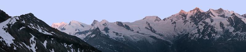 View over Mishabel range and Monte Rosa from the Weissmieshütte, Switzerland