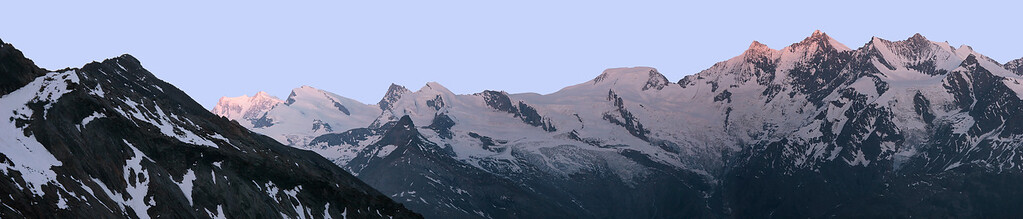 View over Mishabel range and Monte Rosa from the Weissmieshütte, Switzerland