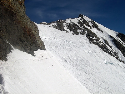 The final ridge to the summit of Piz Bernina (4.049m), Switzerland, Italy