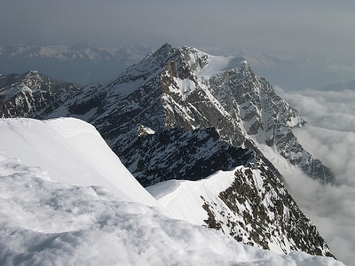 View from Weissmies summit (4.023m), Valais, Switzerland