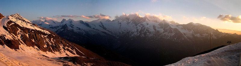 View over Mishabel range from the Weissmieshütte, Switzerland