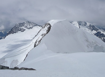 View over Piz Palù central summit (3.901m) from Western summit, Switzerland