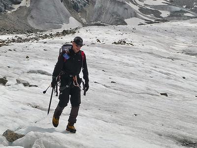 Me descending the Morteratsch glacier, Bernina range, Switzerland
