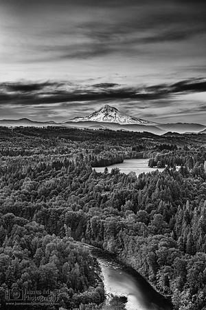 """A Long View Home,"" Dawn over Mount Hood, Mt Hood, Oregon"
