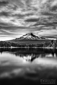 """Hood's Dream,"" Moody skies over Mount Hood and Trillium Lake, Mt Hood National Forest, Oregon"