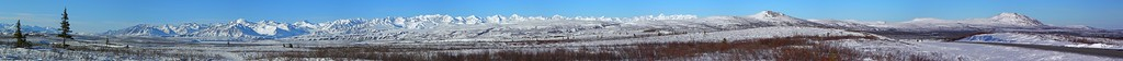 """4/182010 7:00 PM - Taken from around Mile 3.5 on the Denali, this panorama of the Brooks Range is just a sample of the views in the eastern Alaska Range.  Best viewed at """"O"""" (original) size and scrolled across the screen to get the full effect."""