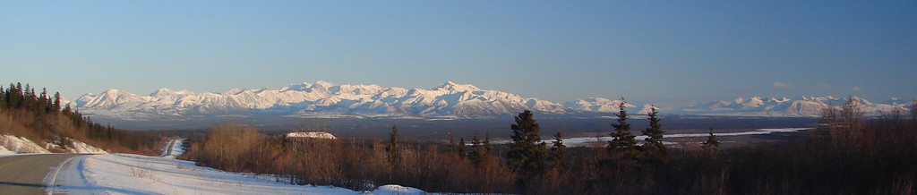 2/19/07 - Driving along the Tok Cut-Off the Mentasta Mts are visible for many miles.  This branch, including Noyes Mt, stands out in the late afternoon sun in as viewed from a scenic overlook at MP56.