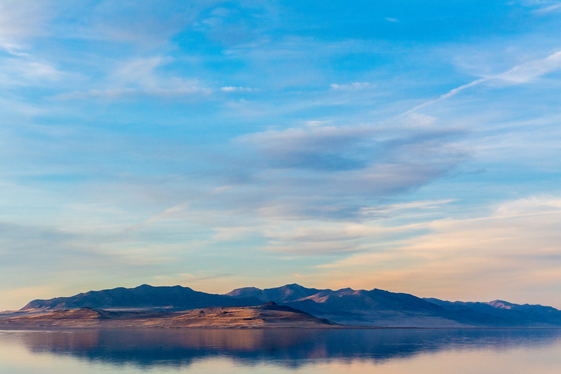 Fremont Island in the Great Salt Lake as seen from the north shore of Antelope Island.