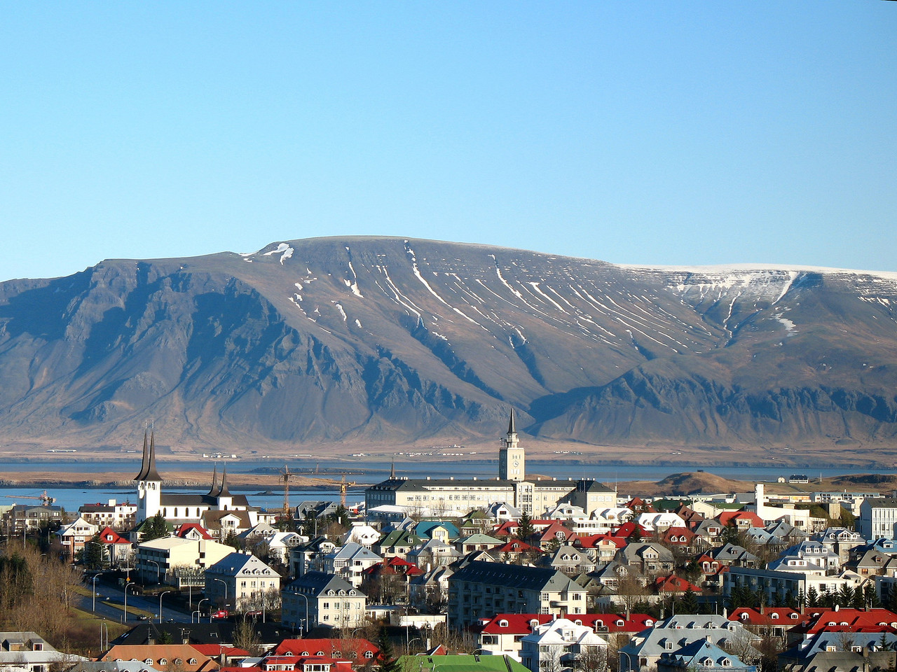 """View from the balcony of the """"Pearl"""" restaurant near Reykjavík airport."""