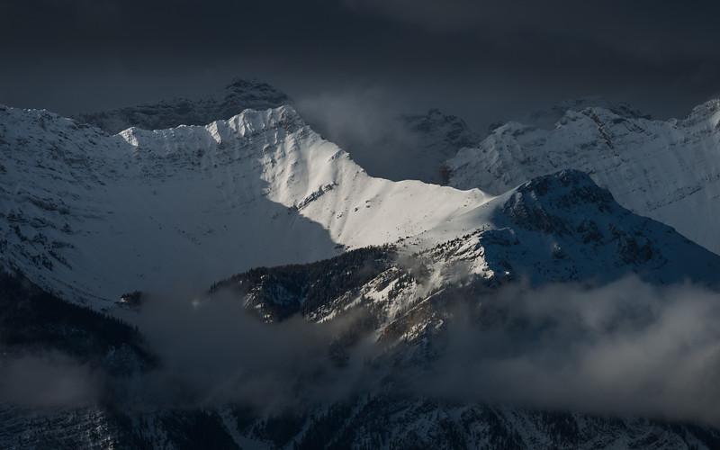 light hits Lena point on Mt Indefatigable.