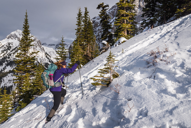 ascending the steep slopes towards the col on the ridge line