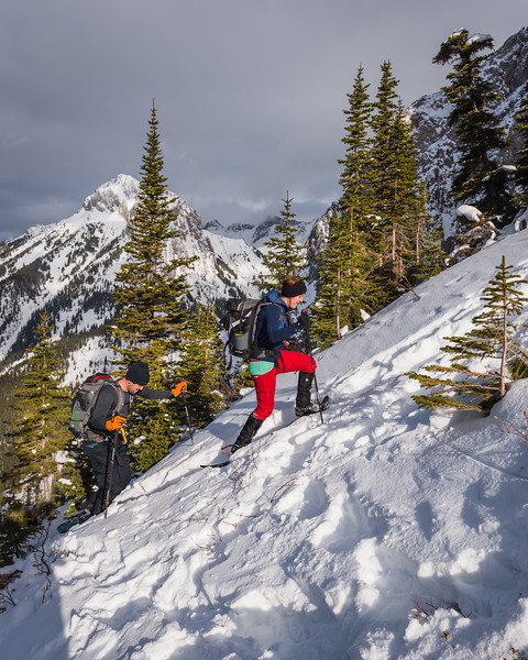 Allison and Abram, who we met on the slopes, climbing up the ridge line