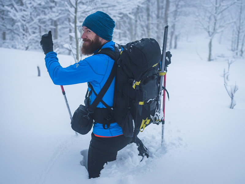 There were spots where the snow had drifted and we had to employ Scott to break trail for us. One of his self-proclaimed specialties ;)