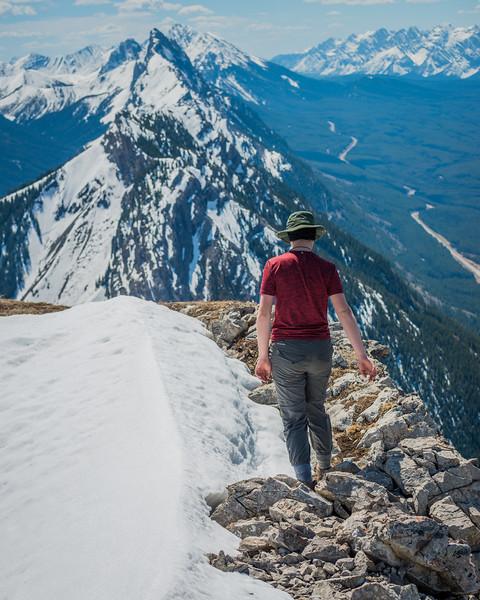 Along the summit ridge..