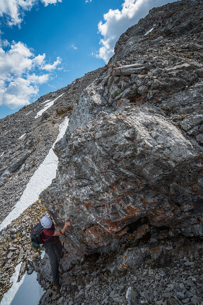 Traversing around a cliffband