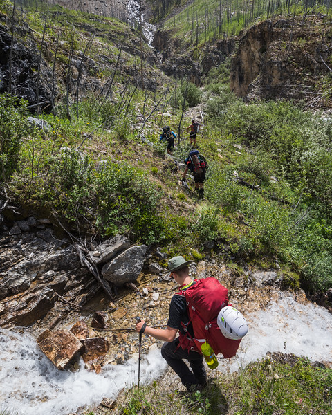 As we climbed up towards the hanging valley, there were streams that had to be traversed.