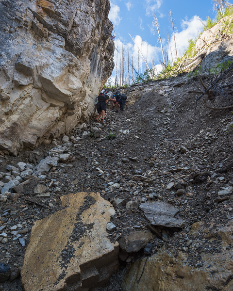 To escape the creek, we had to ascend this loose rocky slope.
