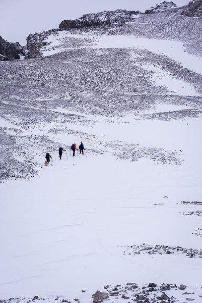 ascending towards the summit ridge.