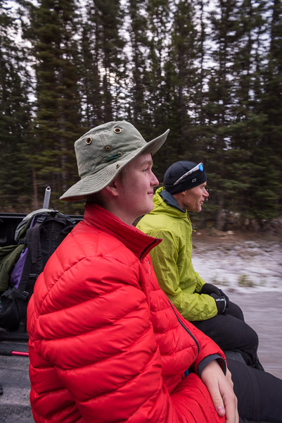 we left the parking area and went slightly towards the trailhead.. Jamie, Conor and I sat on the tailgate..
