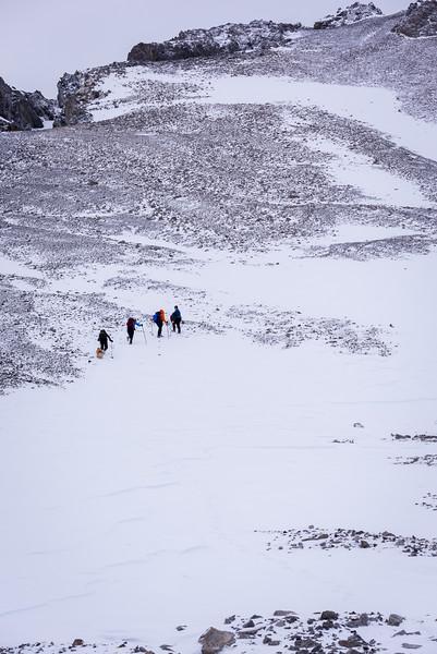 ascending towards the summit ridge.
