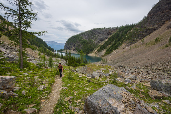Looking back towards Lake Agnes. On the right is a trail that ascends the beehive and leads up to Devil's thumb.