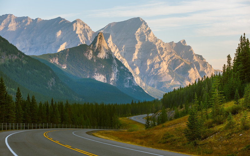 On the way to the trail head I stopped and took a photo of Mt Kidd and the highway..