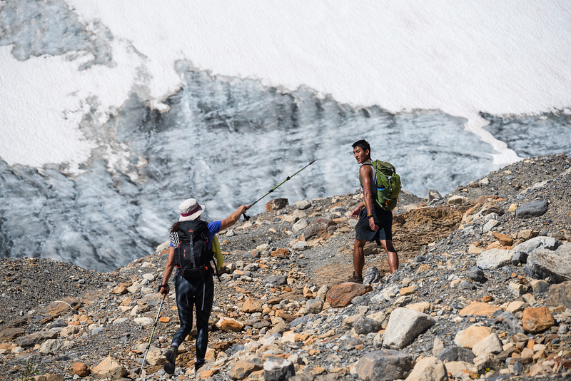 Goga points the way towards the Onion. Bow glacier in the background.