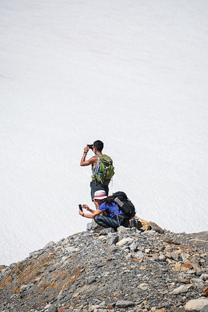 Taking photos of snow and ice.