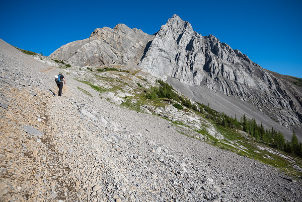 Well trodden path on the scree slopes below the col.