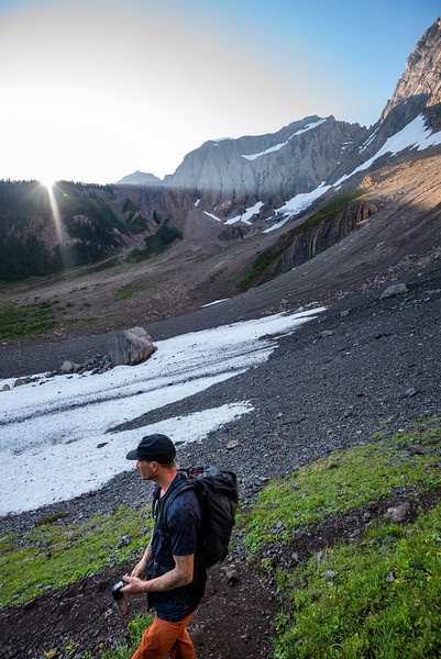 Lucas as we start up the steep end of the valley to get to the Smuts/Birdwood col