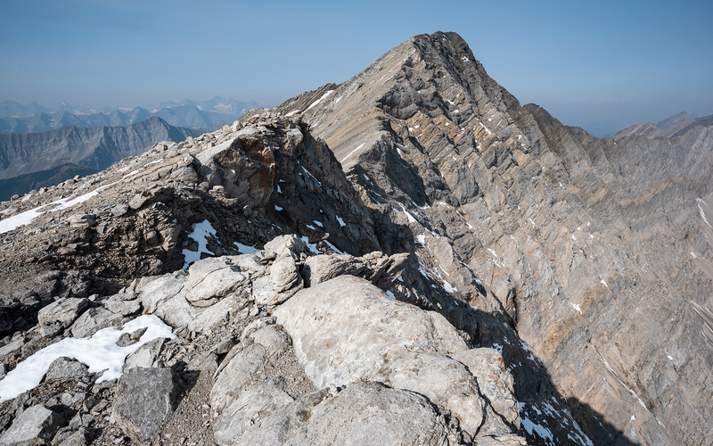 A view towards the main summit from the outlier.