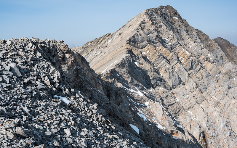 Looking towards the summit of Mist. A figure appears in the col