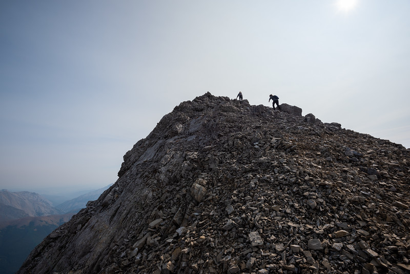 """I'd met a couple of women at the col that weren't interested in reaching the main summit, they had asked about descent options and I told them of my ascent line which wasn't """"too steep"""" they left to ascend the outlier before heading down."""