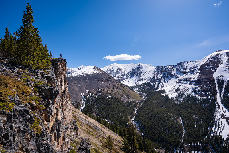 A view of the cliffs that we're ascending on. Mcdougall at center and Volcano peak on the right.