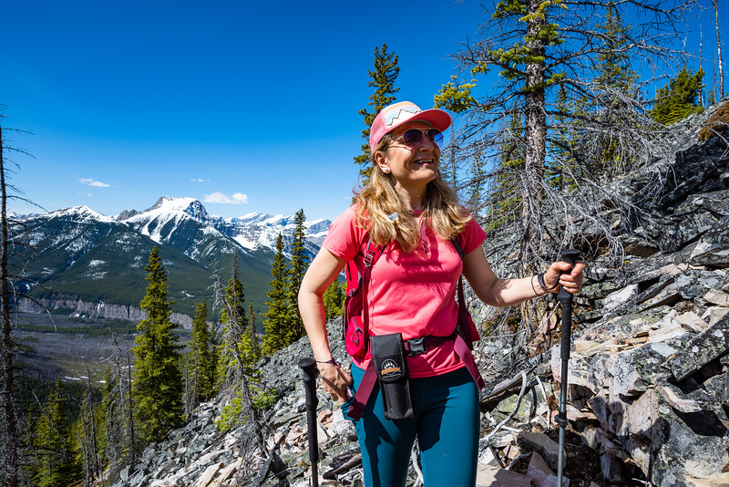 Natasha's all smiles as near the top of the talus field.