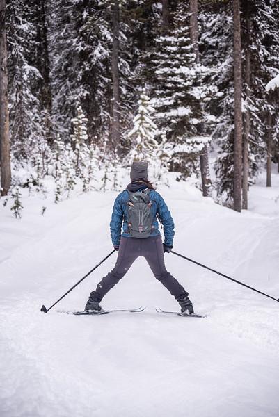 Kristyn snowplowing down the hill.