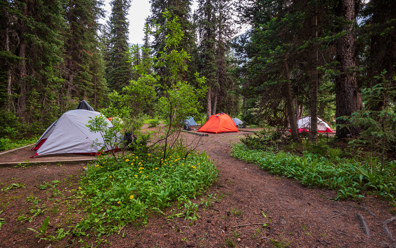 Our tent is on the right. We opted to not sleep with the rain cover on. It did cool off, but we weren't cold.