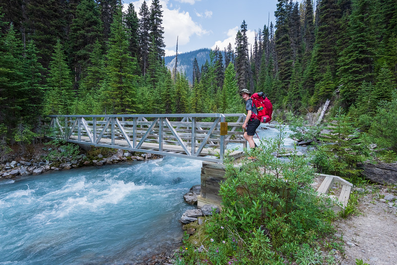Crossing the first bridge at Helmet / Ochre junction. The trail would start to climb from here.
