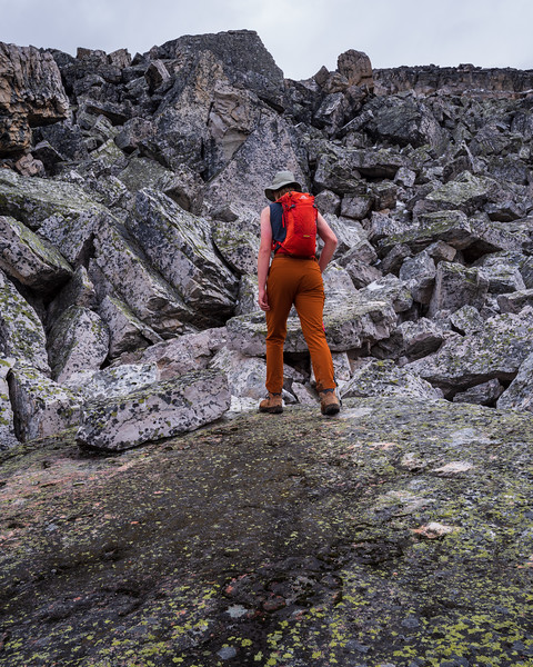 Conor approaching the blocky quartzite as we ascend Heather ridge.